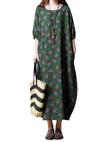 Gracila Vintage Women Floral Printed Half Sleeve Long Maxi Dresses