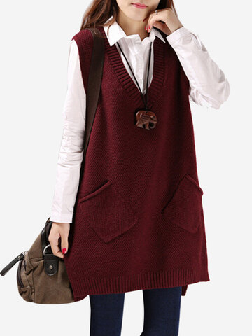 Women V-neck Pure Color Pocket Vest Sweaters