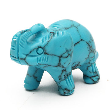DIY Elephant Figurine Green Turquoise Hand Carved Elephant Ornament