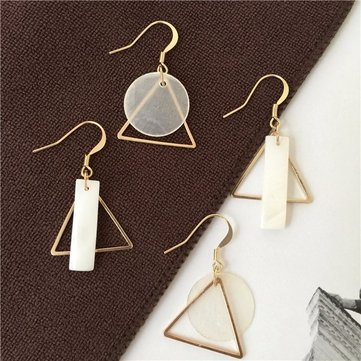 Simple Alloy Geometry Triangle Hollow Shell Earrings