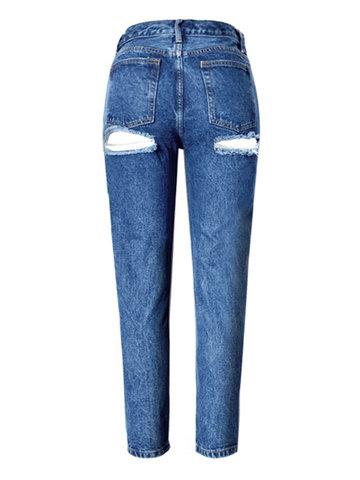 Pantalones vaqueros de la alta cintura flacos huecos atractivos para las mujeres