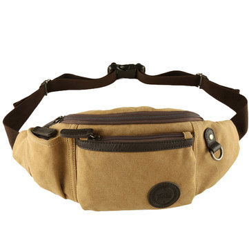 Vintage Canvas Chest Bag Patchwork Waist Bag Shoulder Bag Crossbody Bag For Men