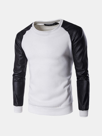 Mens Long Sleeves Sweatshirt Fashion Splicing Color PU Leather SLeeve Casual Pullover