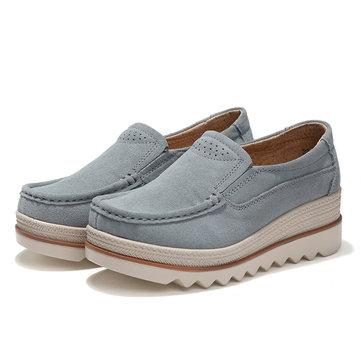 Breathable Suede Slip On Platform Shoes