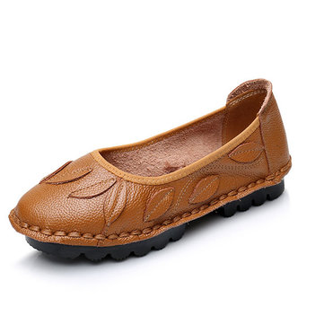 SOCOFY Leaf Soft Leather Slip On Casual Flat Loafers