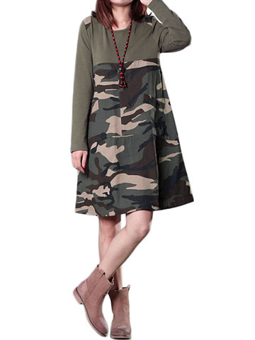 Camouflage Patchwork Long Sleeve Loose Casual Women Mini Dress