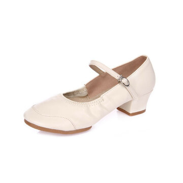 Buckle Chunky Heel Pure Color Casual Mary Janes