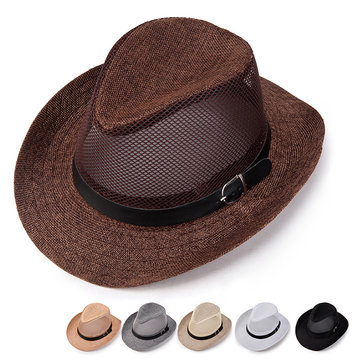 002da146 Mens Summer Breathable Mesh Panama Hats Hollow Out Flax Straw Hat Outdoor Beach  Sun Hat