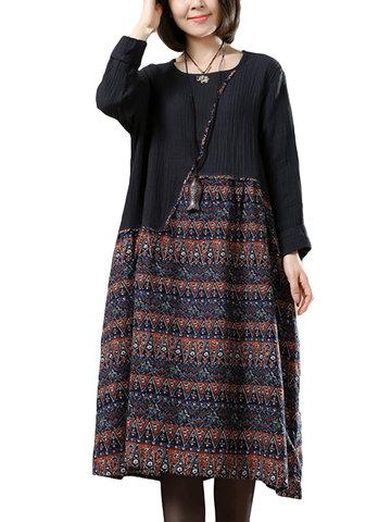 O-Newe Vintage Printed Patchwork Dress для женщин