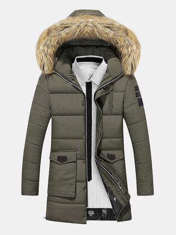 Winter Outdoor Thicken Warm Windproof Detachable Hood Long Padded Jacket for Men