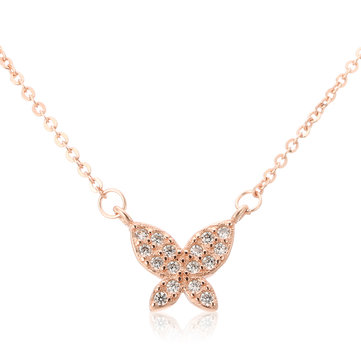 Sweet Zircon Necklace Butterfly Elegant Clavicle Necklace
