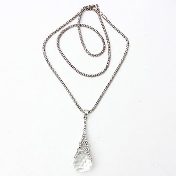 Crystal Ball Eiffel Tower Pendant Sweater Chain Necklace