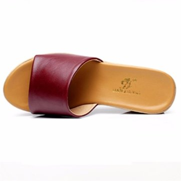 Big Size Leather Platform Beach Peep Toe Slip On Slippers Sandals