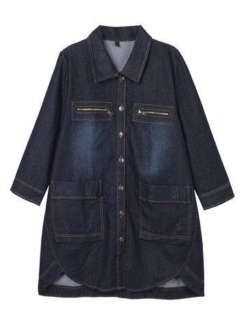 Casual Solid Pocket High Low Denim Outwear For Women