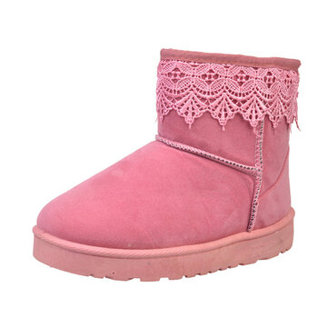 Lace Ankle Pure Color Slip On Flat Snow Boots For Women