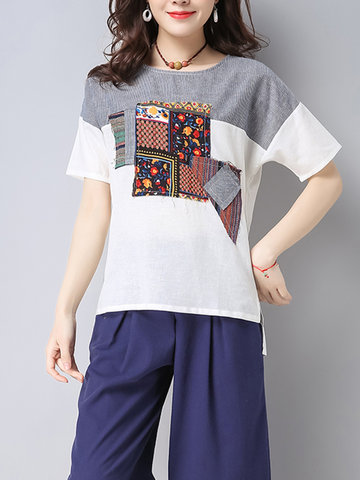 Casual Women Ethnic Print Patchwork Short Sleeve O-Neck Loose Shirts