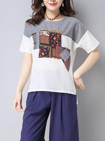 Повседневная женская этническая печать Пэчворк с коротким рукавом O-Шея Loose Shirts