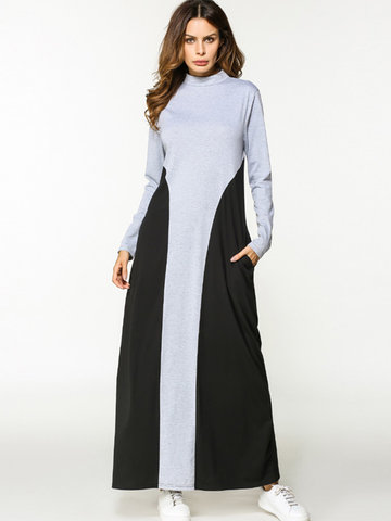 Casual Patchwork Stand Collar Long Sleeve Maxi Dress For Women