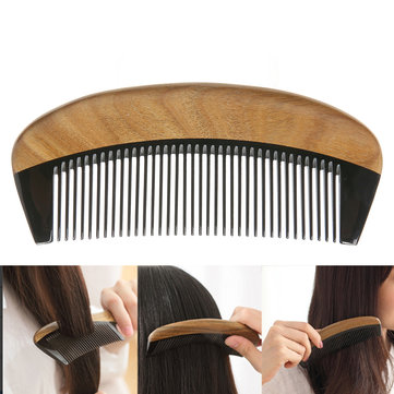 Green Sandalwood Oxhorn Hair Comb Portable Anti-static Massage Brush Styling Tools Gift