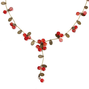 Ethnic Jewelry Red Cherries Beads Long Chain Necklace