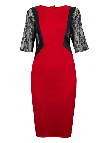 Plus Size Elegant Lace Splicing Zipper Bodycon Dress