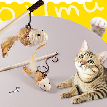 Funny Cat Teaser Pet Toys Kitten Interactive Toy Stick Wand Feather Play Games