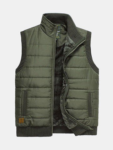 Autumn Winter Casual Outdoor Thick Warm Waistcoats Stand Collar Vest Men