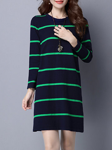 Casual Women Knitted Loose Stripe Dresses