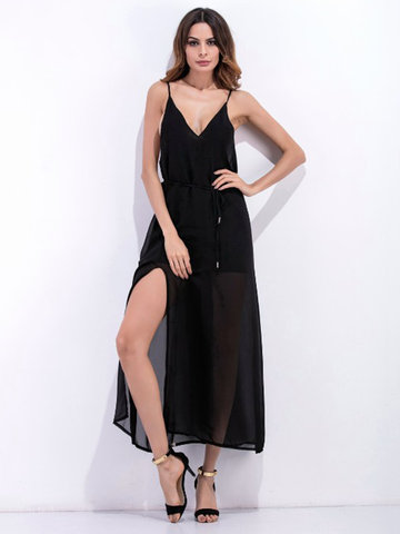Sexy Chiffon Slit Hem Backless Camisole Women Maxi Dress