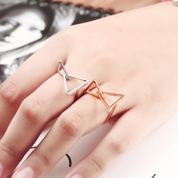 Simple Copper Square Triangular Cube Geometry Hollow Exaggerated Ring
