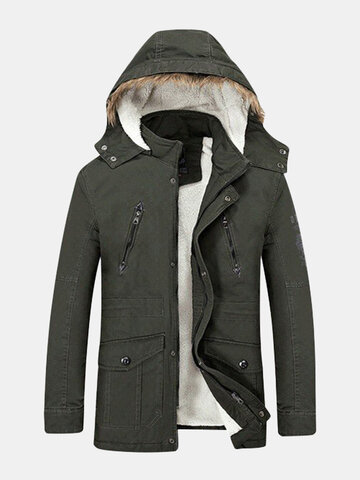 Men's Winter Fashion Jacket Large Size Thickened Warm Hooded Long Coat