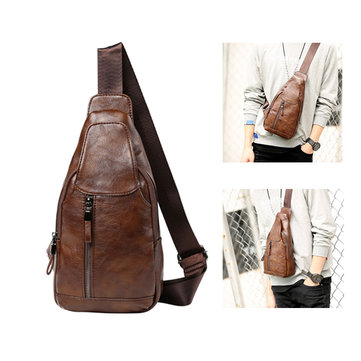 Vintage Casual Pu Leather Chest Bag Crossbody Bag Shoulder Bag For Men