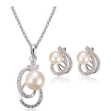 Комплект ювелирных изделий из ожерелья из жемчужного хрусталя