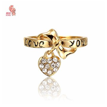 18K Gold Plated Heart Crystals Drop Ring