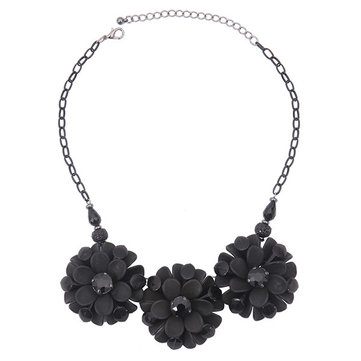 Simple Necklace Alloy Acrylic Black Flowers Necklace