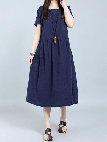 O-NEWE vestito O-Collo Solido Manico corto per le donne