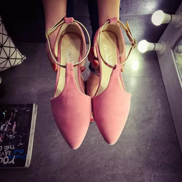 Strappy Buckle Metal Pointed Toe Flat Shoes For Women