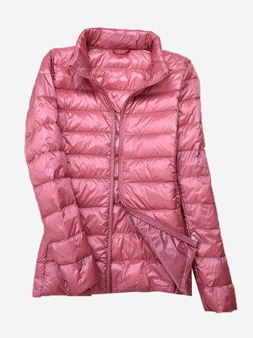 Solid Color Stand Collar Women Down Jackets