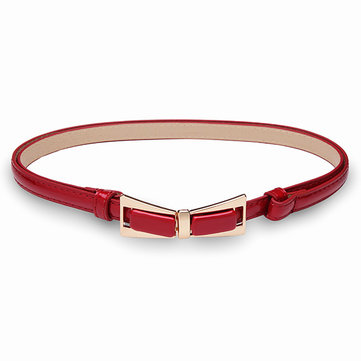 Candy Color Cute Bowknot Thin Belt Patent Leather Buckle Strip