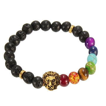 Lava Rock Alloy Gold Lion Head Beads Bracelet