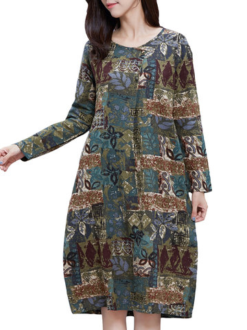 Vintage Abstract Print Long Sleeve Women Loose Dress
