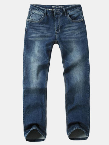 Vintage Elastic Casual Loose Fit Lightweight Leg Straight Mid-Rise Denim Jeans For Men