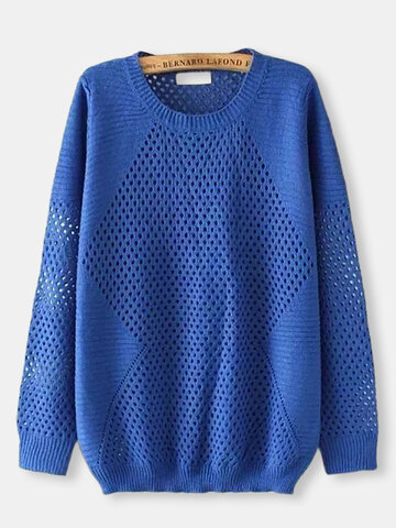 Casual Women Solid Hollow Out Long Sleeve Pullover Sweater