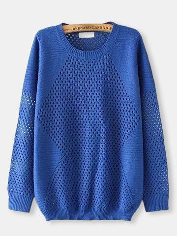 Вскользь Женщины Твердый выдолбленный длинный рукав Pullover Sweater