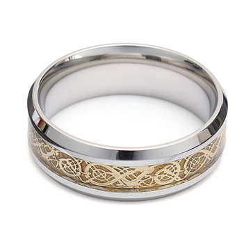 Dragon Scroll Inlay Bague Titanium Steel Bague
