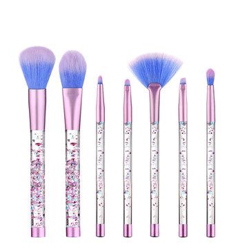 7Pcs / Set Блеск Русалка Жидкая ручка Макияж Кисти Набор Eyeshadow порошок Blush Brush