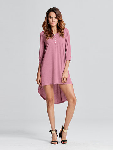 Brief Solid Button O Neck Irregular Cotton Dress