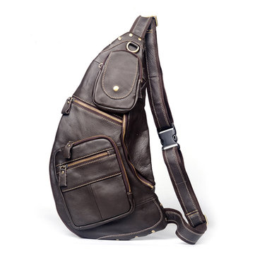 Buy Mans Chest Bags Cowhide Leather Crossbody Leisure Messenger Sling