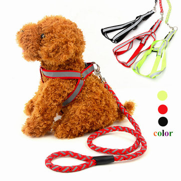Reflective Nylon Pet Dog Puppy Harness Traction Leash Safety Rope Lead Strap NEW