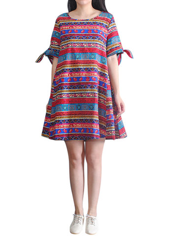 O-NEWE Folk Style Geometric Printed A-Line Dress For Women
